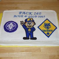 Cub Scout Blue And Gold Dinner Had to make a cake for 215 people. I made this one and then had a couple kitchen cakes.
