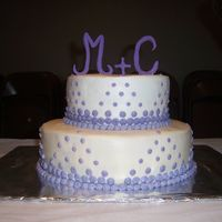 Polka Dot Shower Fondant letters, lavender and white