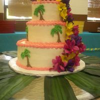 Luau Birhday Cake for an 80 year old's birthday luau! Flowers are silk, provided by the lady who ordered the cake. First three tier cake I ever did...