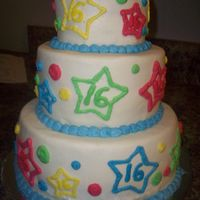 "Stars! 16th birthday cake, she wanted stars, three tiers are 8"", 6"", and a little pyrex ramekin."