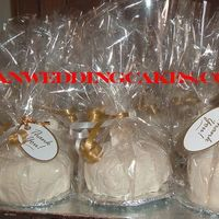 Mini Wedding Cake Favors Mini cakes order by the brides mom to be given as favors to guests. Can you imagine making 200 of these? Well I did and didn't sleep...