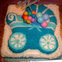 "Blue Stroller Shower Cake This is a Stroller cake on top of a 10"" Square cake."