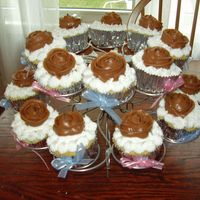 Cupcakes For Salima's Shower just vanilla cupcakes, vanilla frosting and chocolate cream cheese roses