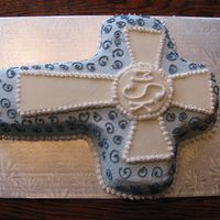 1St Communion Cake For A Friend marble cake, buttercream icing with a fondant cross.
