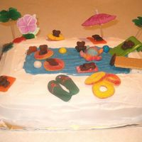Beach/pool Cake I used Teddy Grahams, Air Heads, Gummy O-Rings. I used Wilton icing markers to draw bathing suits on the bears.