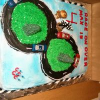 60790062.jpg I made this cake for my son's birthday. I used race car candles.