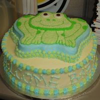 Frog Baby Shower Cake I made this for a baby shower at work. The mother-to-be chose frogs as her nursery theme. It is buttercream and white cake on the bottom...