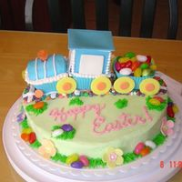 Easter Train Cake I took a train idea from the Wilton Cupcake book and incorporated it into an Easter cake for my nephew who loves trains.