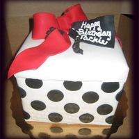 "Gift Box 8"" square cake covered in MMF."