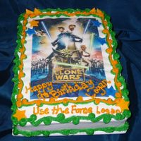 Star Wars Clone Wars Cake This 1/4 sheet chocolate fudge cake was iced in butter cream then topped with an edible Star Wars Clone Wars image and fondant shapes...