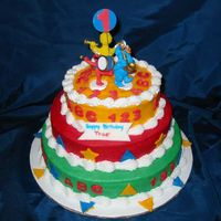 Sesame Street Band Cake This small vanilla cake was done for a friendâs grandsonâs 1st birthday. The 6, 8 & 10 inch rounds were one layer...