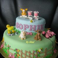 Farm Animals Cakes covered with fondant, figurines moulded with fondant mixed with gum-tex. Sophie's mom also requested for the bunny to be in the...