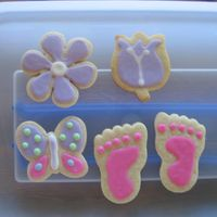 First Decorated Cookies flower butterfly themed baby shower party favors, first time for cookies...loved it but it was alot of work...saw the foot prints here but...