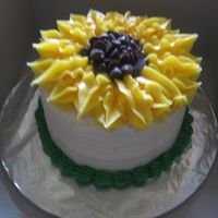 Sunflower white wedding cake with cream cheese icing...made for my dd came home from school for a couple days..I'm not sure who posted the...