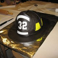 Fire Fighter Helmet Cake Another view of the fire fighter helmet cake.