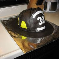 "Fire Fighter Helmet Cake My first attempt at a 3D cake - and it went a lot better than I thought! Thanks to ""the cakemaker"" for her tips and expertise!! I..."