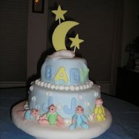 Cute Baby Shower Cake covered in fondant with fondant accents;