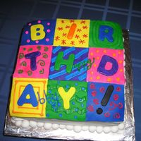 Happy Birthday Quilt covered with fondant with fondant & BC accents;