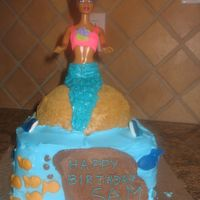 Mermaid Cake I made this cake for my niece who wanted a mermaid cake.This was my first time making a doll cake and I used an actually Barbie that she...