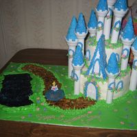 Cinderella And Her Castle castle is the cake: poured sugar pond: royal icing and fondant and buttercream all incorporated was a little shaky about doing the castle...