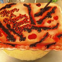 Fright Night marble cake buttercream icing made to look like cut up flesh ... piping res gel for blood and airbrushed for effects