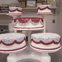 5 Tier Wedding Cake Red And Light Gray For Silver 5 tier wedding cake white cake all buttercream icing