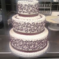Scrolls In Burgundy white cake buttercream icing 3tier cake