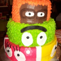 Yo Gabba Gabba Inspired by all CCers. Triple layer chocolate and funfetti. Buttercream w/fondant accents. Not enough support so it's leaning plus I...