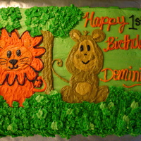 Safari Friend's 1St Birthday Cake I made this cake for a friend's son's 1st birthday. It was a safari themed birthday party! It was a white cake with BC icing. I...