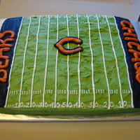Chicago Bears Cake  I made this cake for a girl I went to school with...her 7yr old twin boys who love the Chicago Bears! It is 1/2 French Vanilla & 1/2...
