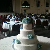 Blue Hydrangea Wedding Cake Simple design accented with beautiful blue Hydrangea