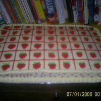Strawberry Sheet Cake   This is the sheet cake that went with the strawberry shortcake doll I made.