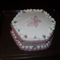 Butterfly And Ruffles This was the cake that I was decorating in the picture from the newspaper article about HB 3282. The butterfly is a stencil. Everything is...