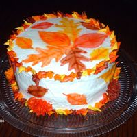 Airbrushed Fall Cake I made this for practice with my airbrush. Made stencils of leaves and airbrushed them on, everything else is buttercream.