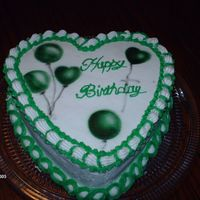 Green And White Ballon Cake Everything is buttercream and the ballons are airbrushed.thanks!