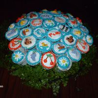 Cupcakes In A Cupcake Dome These were for a baby Blessing actually because it was late and the Baby was about a year old so they didn't want to call it a baby...