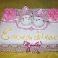 Baby Shower This is a 9x13 chocolate cake with buttercream icing I did for my best friends baby shower. The shoes, roses and ribbon are real. Thanks...