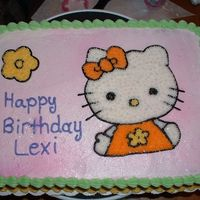 Lexi's 5Th Birthday Cake I did this cake for my Boyfriends little sister. I used a piping gel transfer for the hello kitty & filled in with stars. Thanks for...