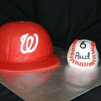 "Washington Nationals Cake This was made using the pirex mixing bowl and an 8"" round. Covered in MM fondant and the bill is gumpaste."