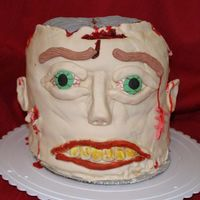 "Zombie Head   This was a HUGE cake - 5 10"" rounds stacked. All decor is MMF."