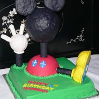 Mickey Mouse Clubhouse Mickey Mouse Clubhouse cake for my niece. The head, foot and hand are RKT covered in fondant - I hate that you can see the RKT through the...
