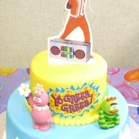 "Yo Gabba Gabba Cake This is inspired by the children's show ""Yo Gabba Gabba"", the characters are actually plastic (I hate doing it but what the..."