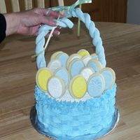 Easter Cake (2006)   Wilton design; fondant handle broke. Sugar cookies w/fondant, some with luster dust.