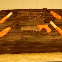 Wood Grain Birthday Chocoate fondant with chocolate tools; Nilla Wafers sawdust