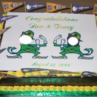 Notre Dame Groom's Cake  I MADE THIS FOR MY BIL'S WEDDING. HE LOVES NOTRE DAME FOOTBALL AND I THOUGHT THIS WOULD BE CUTE....I MADE THE PIC AND THEN LAMINATED...