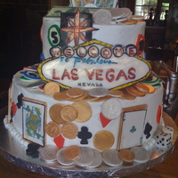Grooms Cake   This cake was made for a groomsman who was honeymooning in Vegas. All the pieces are edible and are made from white chocolate or fondant.