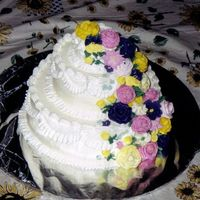 Cascading Garden This cake has royal icing flowers. :)