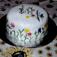 "Painted Fondant Cake This fondant covered cake is ""painted"" on using paste food colors."
