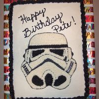 Storm Trooper All chocolate with buttercream. Picture of Star Wars Storm Trooper. TFL!