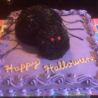 Spider Cake Happy Halloween!Used the large ball pan and mini ball pan for spider's body. Black licorice for legs. Candy for eyes. Many thanks to...